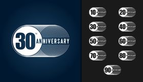 Set of anniversary logotype. Anniversary celebration design temp. Late for booklet, leaflet, magazine, brochure poster, web, invitation or greeting card. Vector Royalty Free Stock Image