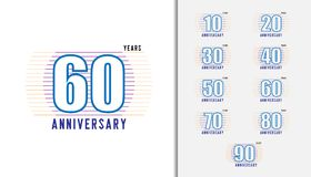 Set of anniversary logotype. Anniversary celebration design temp. Late for booklet, leaflet, magazine, brochure poster, web, invitation or greeting card. Vector Stock Images