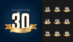 Set of anniversary logotype. Anniversary celebration emblem with. Ribbon design for booklet, leaflet, magazine, brochure poster, web, invitation or greeting Stock Photos