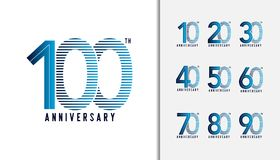 Set of anniversary logotype. Anniversary celebration icons desig. N for booklet, leaflet, magazine, brochure poster, web, invitation or greeting card. Vector Royalty Free Stock Images