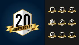Set of anniversary logotype. Anniversary celebration emblem with. Ribbon design for booklet, leaflet, magazine, brochure poster, web, invitation or greeting royalty free illustration