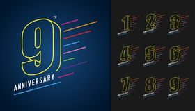 Set of anniversary logotype. Colorful anniversary celebration ic. Ons design for booklet, leaflet, magazine, brochure poster, web, invitation or greeting card Stock Photos