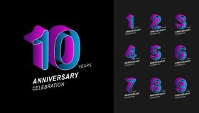 Set of anniversary logotype. Colorful anniversary celebration icons design for company profile, booklet, leaflet, magazine,. Brochure poster, web, invitation or stock illustration