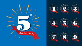 Set of anniversary logotype. Fireworks anniversary design template for booklet, leaflet, magazine, brochure. Poster, web, invitation or greeting card. Vector stock illustration