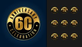 Set of anniversary logotype. Golden anniversary celebration embl. Em design for booklet, leaflet, magazine, brochure poster, web, invitation or greeting card Royalty Free Stock Photo