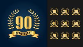Set of anniversary logotype. Golden anniversary celebration embl. Em with ribbon and laurel wreath. Design for booklet, leaflet, magazine, brochure poster, web Royalty Free Stock Images