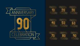Set of anniversary logotype. Golden anniversary celebration embl. Em design for booklet, leaflet, magazine, brochure poster, web, invitation or greeting card stock illustration