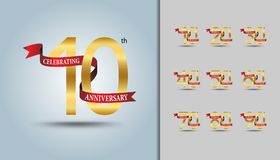 Set of anniversary logotype. Golden anniversary celebration embl. Em with red ribbon design for booklet, leaflet, magazine, brochure poster, web, invitation or vector illustration