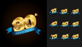 Set of anniversary logotype. Golden anniversary celebration embl. Em with blue ribbon design for booklet, leaflet, magazine, brochure poster, web, invitation or Stock Photos