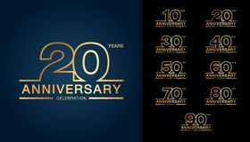 Set of anniversary logotype. Golden anniversary celebration embl. Em design for booklet, leaflet, magazine, brochure poster, web, invitation or greeting card stock illustration