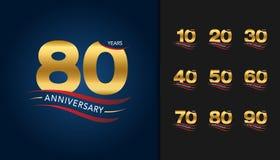Set of anniversary logotype. Golden anniversary celebration embl. Em with ribbon design for booklet, leaflet, magazine, brochure poster, web, invitation or stock illustration