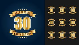Set of anniversary logotype. Golden anniversary celebration embl. Em with ribbon design for booklet, leaflet, magazine, brochure poster, web, invitation or Stock Images