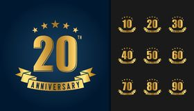 Set of anniversary logotype. Golden anniversary celebration embl. Em with ribbon design for booklet, leaflet, magazine, brochure poster, web, invitation or Stock Photo
