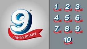 Set of anniversary logotype. Modern anniversary celebration embl. Em with red ribbon. Design for booklet, leaflet, magazine, brochure poster, web, invitation or Stock Photo