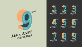 Set of anniversary logotype. Modern anniversary celebration with pastel color. Design for company profile, booklet, leaflet,. Magazine, brochure poster, web vector illustration