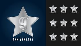 Set of anniversary logotype. Silver anniversary celebration with. Star shape design template for booklet, leaflet, magazine, brochure poster, web, invitation or royalty free illustration