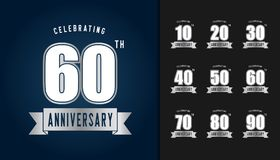Set of anniversary logotype. Silver anniversary celebration embl. Em design for booklet, leaflet, magazine, brochure poster, web, invitation or greeting card Royalty Free Stock Photo