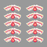 Set of anniversary numbers Royalty Free Stock Photography