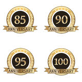 Set Of Anniversary Seals. Set of four gold anniversary seals Stock Images