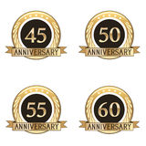 Set Of Anniversary Seals. Set of four gold anniversary seals Royalty Free Stock Photography