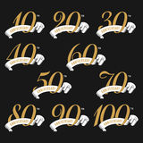The set of anniversary signs from 10th to 100th with ribbons. Royalty Free Stock Photography