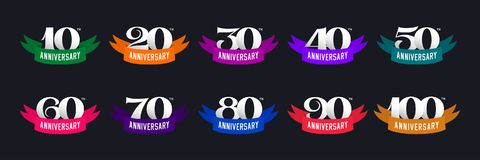 Set of anniversary signs from 10 to 100. Numbers and color ribbons on a dark background. Stock vector signs design elements royalty free illustration