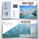 Set of annual report business templates for brochure, magazine, flyer or booklet. Abstract blue polygonal background. Colorful backdrop, modern stylish vector Stock Photography