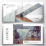 Set of annual report business templates for brochure, magazine, flyer or booklet. Abstract colorful polygonal background. Modern stylish triangle vector Stock Images