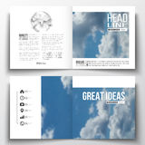 Set of annual report business templates for brochure, magazine, flyer or booklet. Beautiful blue sky, abstract. Background with white clouds, leaflet cover vector illustration