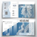 Set of annual report business templates for brochure, magazine, flyer or booklet. Beautiful blue sky, abstract. Background with white clouds, leaflet cover stock illustration