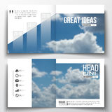 Set of annual report business templates for brochure, magazine, flyer or booklet. Beautiful blue sky, abstract. Background with white clouds, leaflet cover royalty free illustration