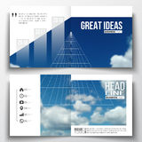 Set of annual report business templates for brochure, magazine, flyer or booklet. Beautiful blue sky, abstract geometric. Background with white clouds, leaflet Stock Photo