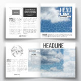 Set of annual report business templates for brochure, magazine, flyer or booklet. Beautiful blue sky, abstract geometric. Background with white clouds, leaflet Stock Images