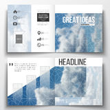 Set of annual report business templates for brochure, magazine, flyer or booklet. Beautiful blue sky, abstract geometric. Background with white clouds, leaflet Royalty Free Stock Images