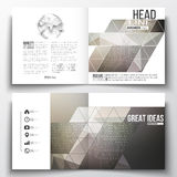 Set of annual report business templates for brochure, magazine, flyer or booklet. Microchip background, electrical Stock Photo