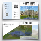 Set of annual report business templates for brochure, magazine, flyer or booklet. Polygonal background, blurred image Royalty Free Stock Image