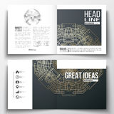 Set of annual report business templates for brochure, magazine, flyer or booklet. Round golden technology pattern on Stock Photo