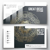 Set of annual report business vector templates for brochure, magazine, flyer. Round golden technology pattern on dark Stock Images