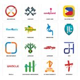 Set of antichrist, 10 years warranty, oracle, lowrider, new instagram, endoscope, fiber optic, candyland, non smoking icons. Set Of 16 simple  icons such as Royalty Free Stock Photography