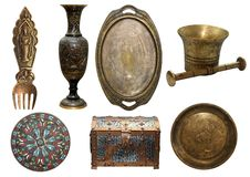 Set antike Bronzefelder Lizenzfreie Stockfotos