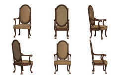 Set of antique chairs. Isolated on the white background Royalty Free Stock Photography