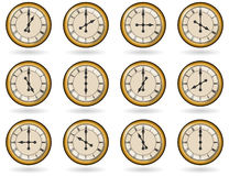 Set of antique clocks for business hours Royalty Free Stock Photography