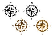 Set of antique compasses Stock Image