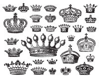 Set of antique crowns (vector) Stock Photo