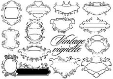 Set of antique, decorative vignettes. (Vector) Stock Photo