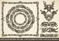 Set of antique frames and design elements. Calligraphic design elements: page decoration, baroque frames, floral ornaments Royalty Free Stock Photography