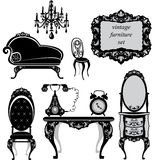 Set of antique furniture. Isolated black silhouettes Stock Photography