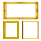 Set antique gold frame isolated on white Royalty Free Stock Photo