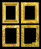 Set 4 antique golden frame isolated on black background, clipping path Stock Images