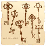 Set of Antique Keys. Royalty Free Stock Photos